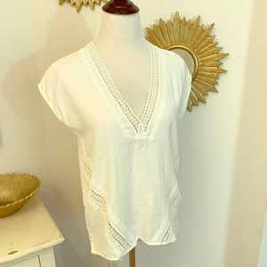 H&M White Cotton Cap Sleeve Top